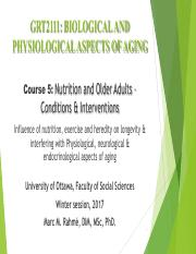 Lecture 5 (P2-Nutrition & Older Adults – Conditions & Interventions)