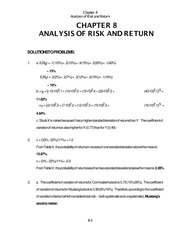 Chapter 8 - solutions ANALYSIS OF RISK AND RETURN