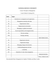 NATIONAL DEFENCE UNIVERSITY Principles of Management Outline