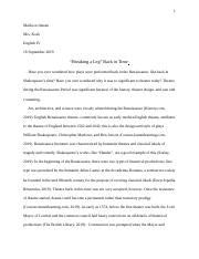 Research Paper: Renaissance Theatre