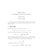 Lecture Notes on Means Values for Solutions of the Heat Equation