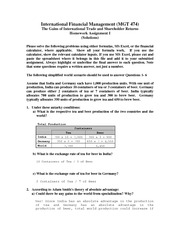 MGT 474 Assignment I - Solution