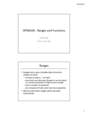 Functions II- Ranges in Functions
