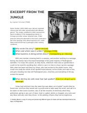 Pearson Hayes - [Template] Copy of Excerpt from the Jungle Reading Activity