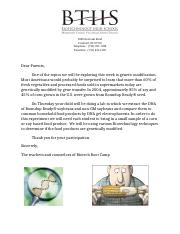 GMO food letter