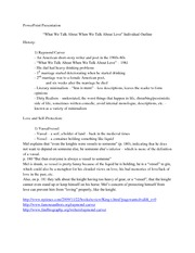 What We Talk About When We Talk About Love (short story) individual outline for Presentation