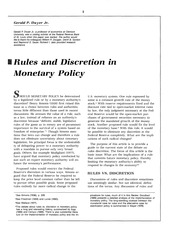 Rules and Discretion in Monetary Policy