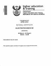 electrotechnics n5 apr2012qp higher ducation traa mg rh coursehero com