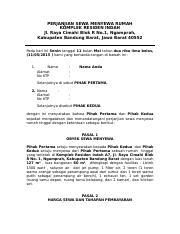 Contoh Surat Perjanjian Sewa Rumah Docx Perjanjian Sewa Menyewa Rumah Komplek Residen Indah Jl Raya Cimahi Blok R No 1 Ngamprah Kabupaten Bandung Course Hero