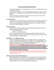 Dictator and Ultimatum Games Notes