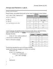 10:29:2015 - Arrays and Pointers & Lab 6.pdf