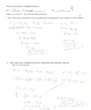 Physics- Elastic collisions worksheet