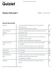 Fin 340 Exam 1 Flashcards pdf - Finance 340 exam 1 Flashcards