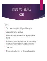 Intro to AAS Fall 2016 First Week Notes.pptx