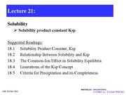 Lecture 21-Solubility constants