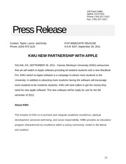 KWU Apple Press Release