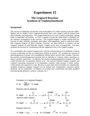 32 Chem 341-342 Lab Manual - Summer 2013 - Experiment 15 - The Grignard Synthesis of Triphenylmethan