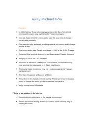 Away Michael Gow notes