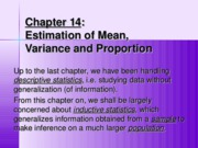 ch14estimationofmean,varianceandproportion