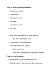 Tools of Project Management Notes
