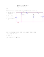 Laplace Circuit Analysis Solution