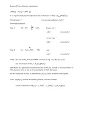 Lecture 8 Notes Reaction Mechanisms