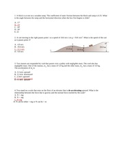 Practice Exam on Coefficient of Static Friction