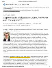 Depression in adolescents_ Causes, correlates and consequences