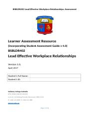 BSBLDR402 Lead Effective Workplace Relationships Assessment v0.2.docx