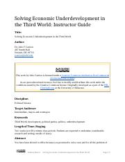 Solving Economic Underdevelopment in the Third World (Instructor Guide).docx