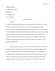 First draft Letter
