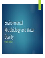 Environmental Microbiology and Water Quality