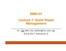 Lecture 7 Solid waste management