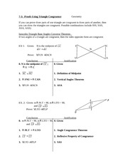 7.3 Proofs Using Triangle Congruence Notes