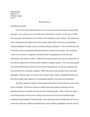 African History Letter