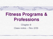 Fitness Programs & Professions-Chap. 8-NOTES