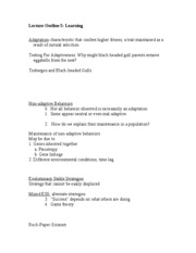 Lecture Outline 5 - learning