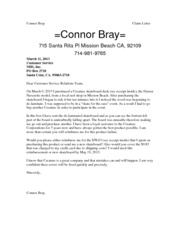 Connor Bray                                                 Claim Letter