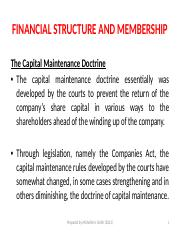 Lecture 9 - Financial Structure and Membership The Capital Maintenence Document