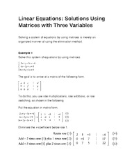 Linear Equations- Solutions Using Matrices with Three Variables