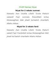 Namaz Niyat - FAJR Namaz Niyat Niyat for 2 rakats sunnat