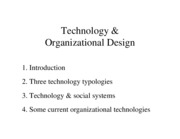 Chapter 8 - Technology & Organizational Design