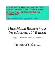 Test Bank for Mass Media Research 10th Edition by Wimmer.docx
