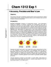 Exp 1 Accuracy, Precision and Beer_s Law