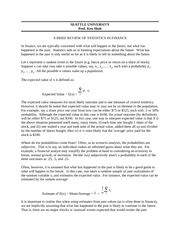 Lecture Notes F on Statistics in Finance