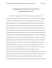 Comn 1000 essay Progress in modes of communication.docx