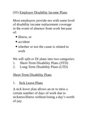 16. Employer Disability Plans