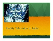 Reality television in India student presenation