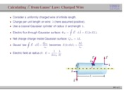 53. Calculating Electric Field from Gauss' Law- Charged Wire