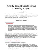 Activity Based Budgets Versus Operating Budgets.docx